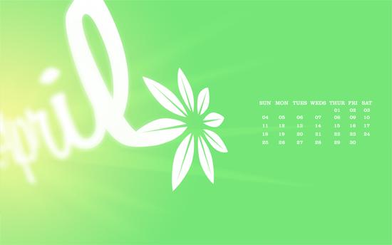 April Desktop Calendar Wallpaper