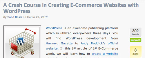 Wordpress and e-commerce