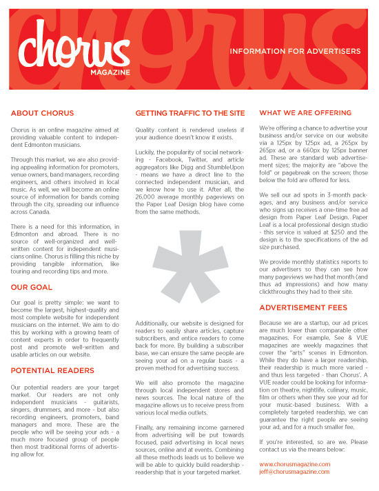 Chorus Magazine Advertisers Sheet