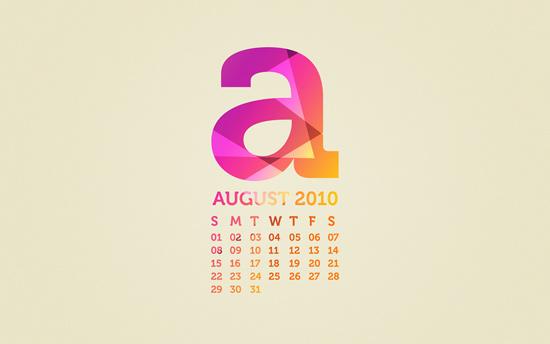 August 2010 Desktop Calendar Wallpaper
