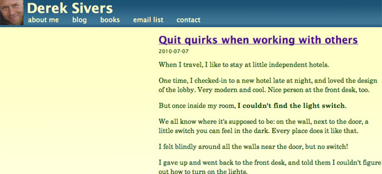 Quit Quirks when Working With Others - Sivers.org