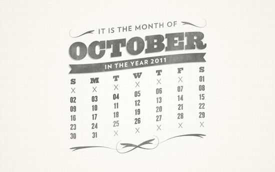 October 2011 Desktop Calendar Wallpaper - Free