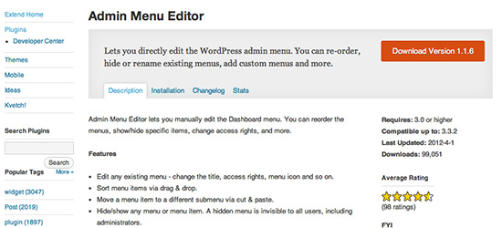 WordPress Admin Menu Plugin