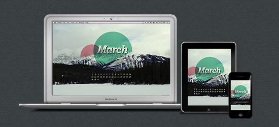 March desktop shown on a Macbook, iPad and iPhone