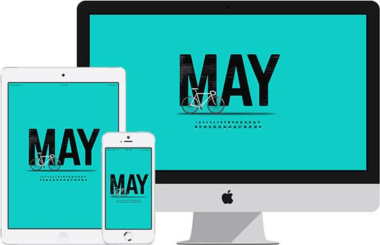 May desktop calendar on iMac, iPad and iPhone.
