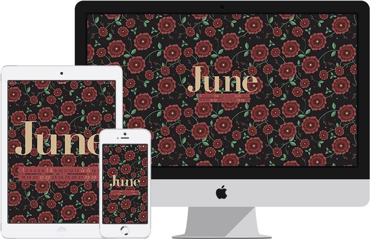 june 2014 desktop calendar wallpaper on iPhone, iPad and iMac