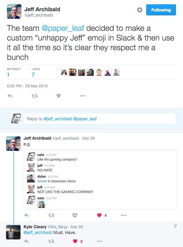 """Jeff Archibald on Twitter The team @paper_leaf decided to make a custom """"unhappy Jeff"""" emoji in Slack & then use it all the t… 2016-04-01 13-30-28"""