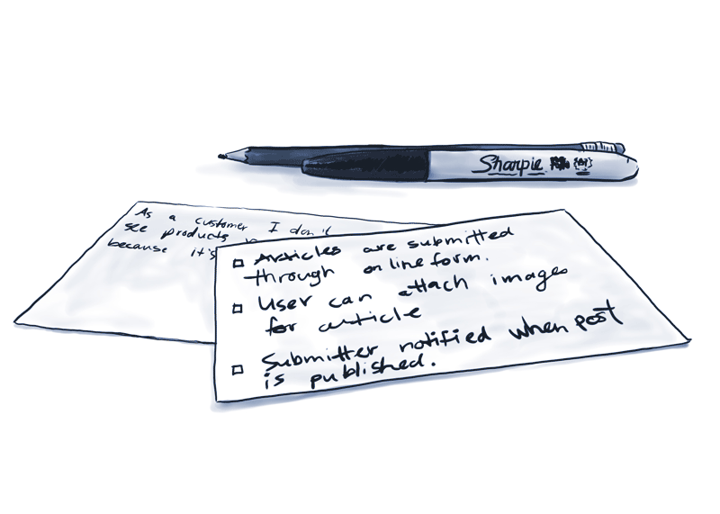 user story cards with acceptance criteria