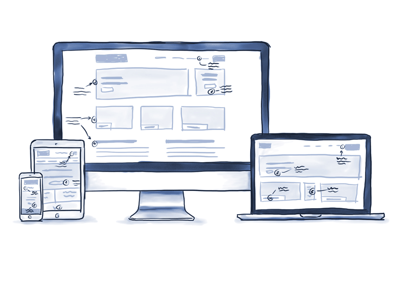 wireframes in laptop, tablet, phone
