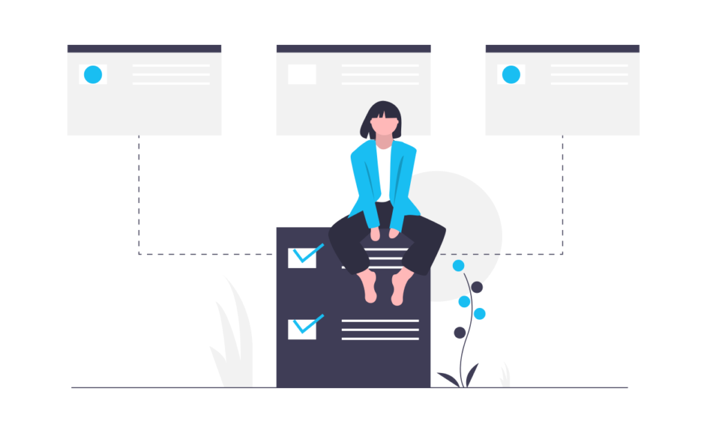 illustratoin of person sitting on document that is collecting data